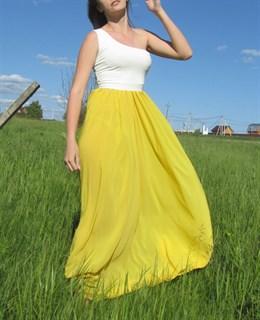Ярко-желтое платье на одно плечо - фото 6518