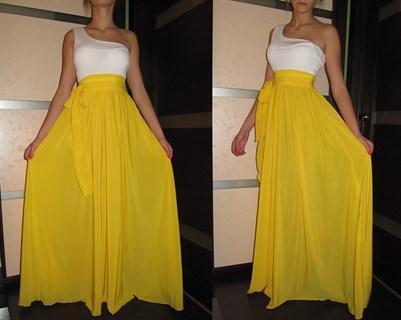 Ярко-желтое платье на одно плечо - фото 6520