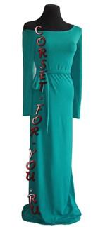 """Изумрудное платье """"Кристал"""" с открытым плечом из микромасла"""