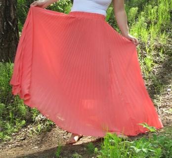 Коралловая юбка плиссе с оранжевым оттенком. 1/2 солнца - фото 6574