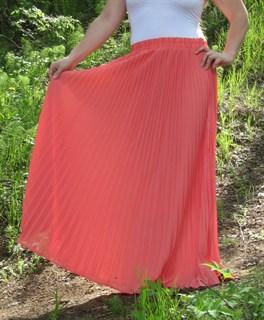 Коралловая юбка плиссе с оранжевым оттенком. 1/2 солнца - фото 6575