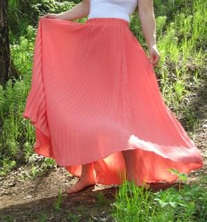 Коралловая юбка плиссе с оранжевым оттенком. 1/2 солнца - фото 6576