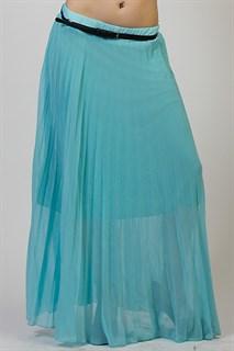Светло-голубая плиссированная юбка с ремешком. 1/2 солнца