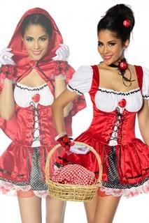 Карнавальный костюм красной шапочки - велюровое платье со шнуровкой и капюшоном