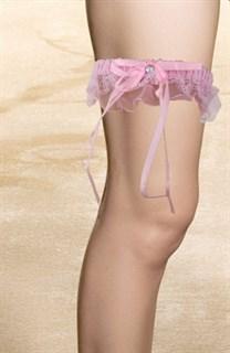 Подвязка на ножку с рюшей. Розовая