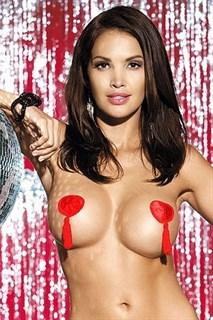 Пестис - красные наклейки на грудь с кисточками в виде сердечек