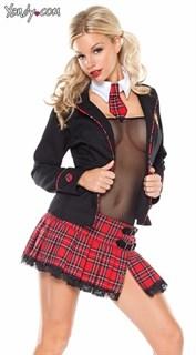 Игровой костюм школьницы с пиджаком и прозрачным боди