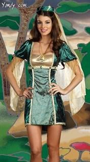 Карнавальный костюм средневековой принцессы. Изумрудное платье