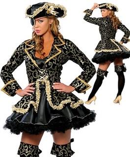 Карнавальный костюм пиратки с зеленым камзолом. Царица морей - фото 7011