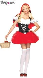 Карнавальный костюм красной шапочки с пышной  красной юбкой