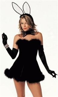 Эротический костюм черного зайчика с мехом