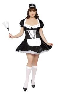 Эротический костюм горничной платье с закрытой спиной