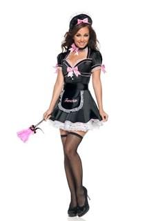 Эротический костюм горничной длинное платье с ярко-розовыми бантами
