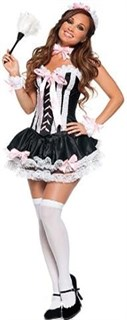 Эротический костюм горничной топик с пышной юбкой
