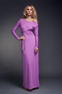 Фиолетовое платье в пол на одно плечо из тонкого трикотажа