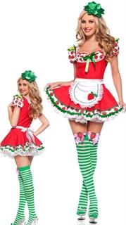 Маскарадный костюм девушки-клубнички красный с зеленым