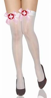 Белые чулки медсестры с розовым бантом