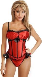 Красный корсет Burlesque с чашками фото