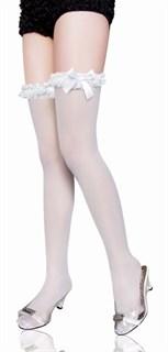 Белые чулки с кружевной резинкой и бантом