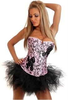 Розовый корсет в черными цветами и апликацией фото