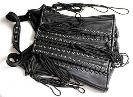 Корсет из кожи на молнии со множеством шнуровок - фото 7661