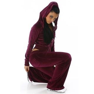 Темно-малиновый велюровый спортивный костюм