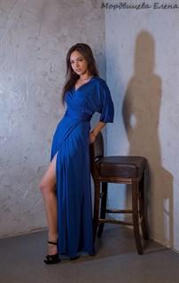 """Синее длинное платье халат """"летучая мышь"""" - фото 7829"""