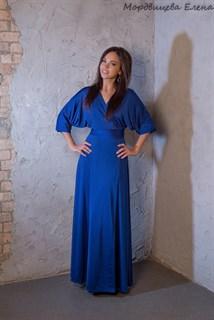 """Синее длинное платье халат """"летучая мышь"""" - фото 7830"""