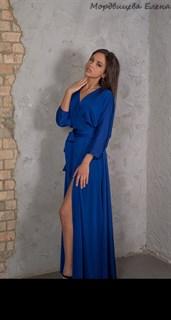 """Синее длинное платье халат """"летучая мышь"""" - фото 7832"""