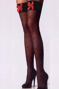 Черные мягкие чулочки в красное сердечко с атласным бантиком