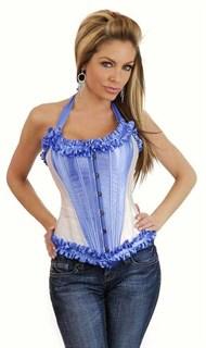 Утягивающий бело-голубой корсет с подвязками для чулок - фото 7992