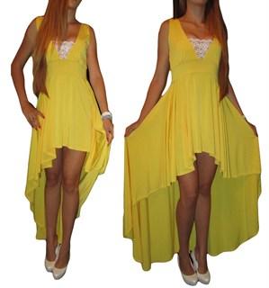 Ярко-желтое платье спереди короткое, сзади длинное - фото 8010