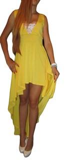 Ярко-желтое платье спереди короткое, сзади длинное - фото 8011