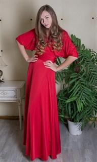 """Красное длинное платье халат """"летучая мышь"""""""