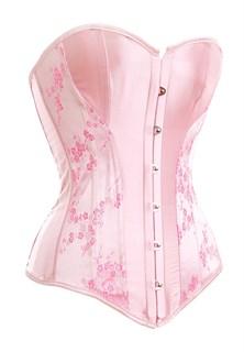 Розовый укороченный корсет на большую грудь фото