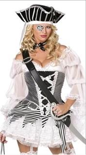 Черно-белая пиратка с пышной юбкой