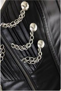 Черный корсет под кожу с цепочками и на молнии - фото 8324