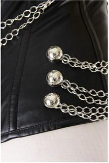 Черный корсет под кожу с цепочками и на молнии - фото 8325