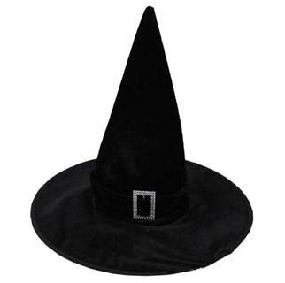 Черный велюровый ведьмовской колпак