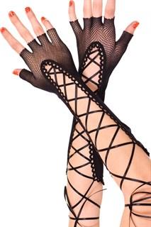 Длинные перчатки из сетки со шнуровкой