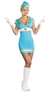 Голубой костюм стюардессы