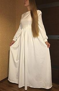 Белое платье с широким рукавом и кружевом - фото 9052