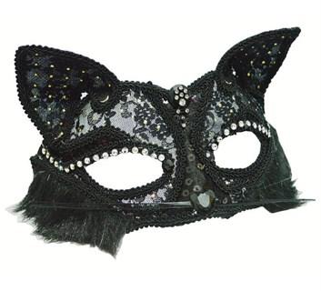 Кружевная маска кошечки. Черная - фото 9171