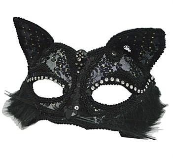 Кружевная маска кошечки. Черная - фото 9172