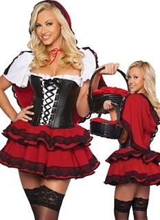 Карнавальный костюм красной шапочки. Пышное платье с корсетом