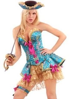 Карнавальный костюм мушкетера с голубым корсетом и пышной юбкой