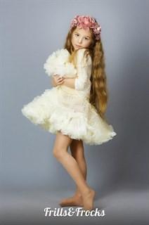 Пышная юбка Frills&Frocks молочного цвета с сердечками