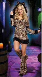 Леопардовое платье с капюшоном