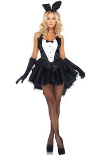 Платье черного зайки с коротким шлейфом