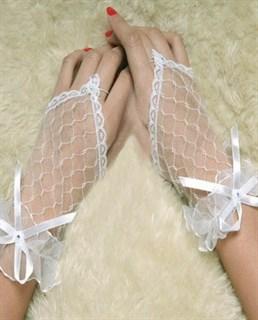 Прозрачные белые короткие перчатки на один палец фото